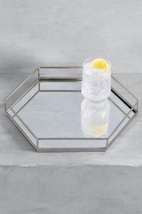 A chrome hexagonal tray in chrome, £25